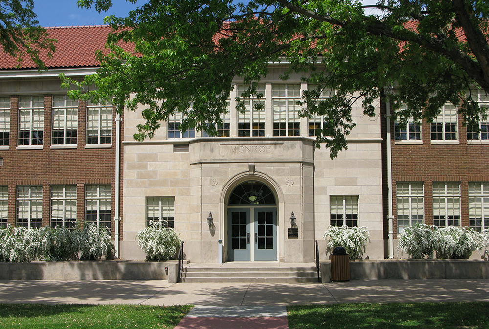 The facade of Monroe School